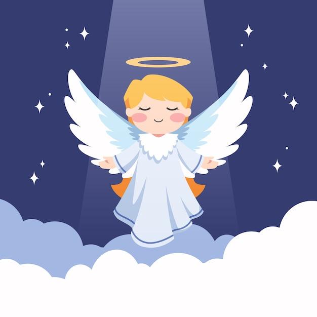 Ilustração de anjo de natal plana Vetor grátis