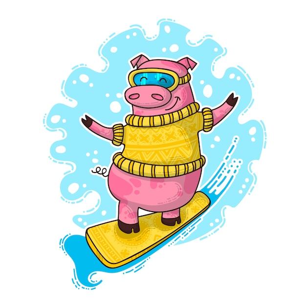 Ilustração de ano novo com porco Vetor Premium