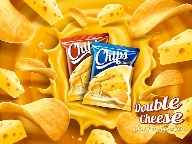 Ilustração de anúncio de batata frita com queijo duplo Vetor Premium