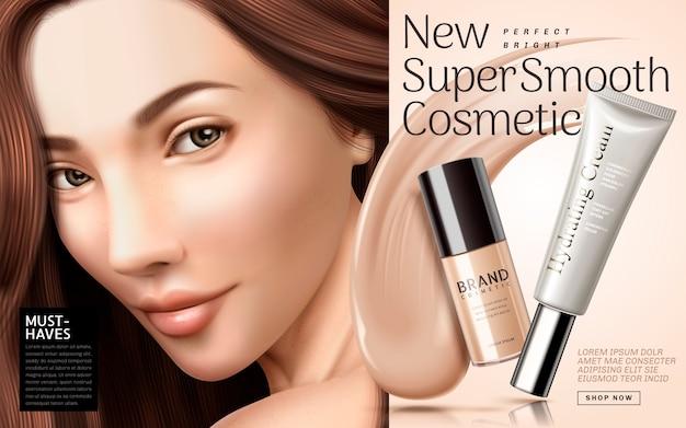 Ilustração de anúncios de base cosmética Vetor Premium