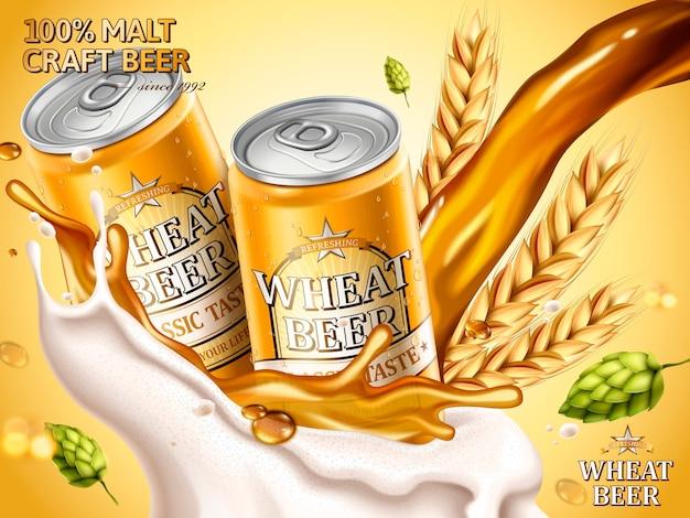 Ilustração de anúncios de cerveja de trigo Vetor Premium
