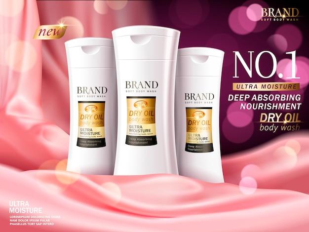 Ilustração de anúncios de gel de banho macio Vetor Premium