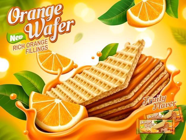 Ilustração de anúncios de wafer laranja Vetor Premium