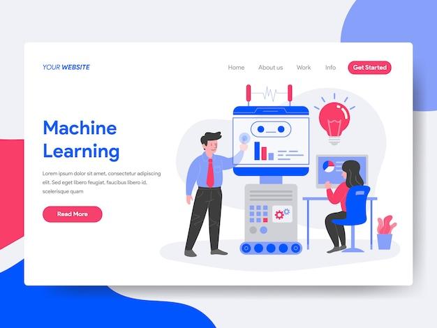 Ilustração de aprendizado de máquina Vetor Premium