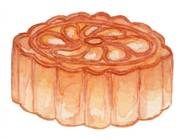 Ilustração de aquarela de bolo de lua Vetor Premium