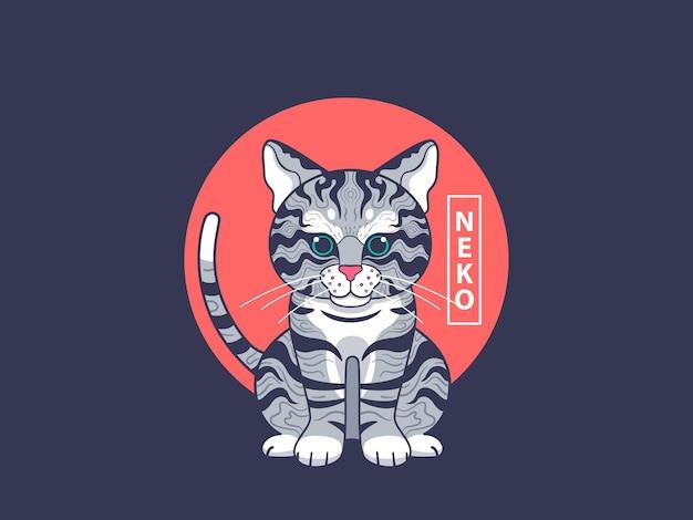 Ilustração de arte de gato com estilo japonês Vetor Premium