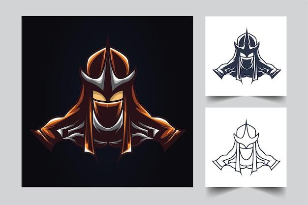 Ilustração de arte do ninja samurai esport Vetor Premium