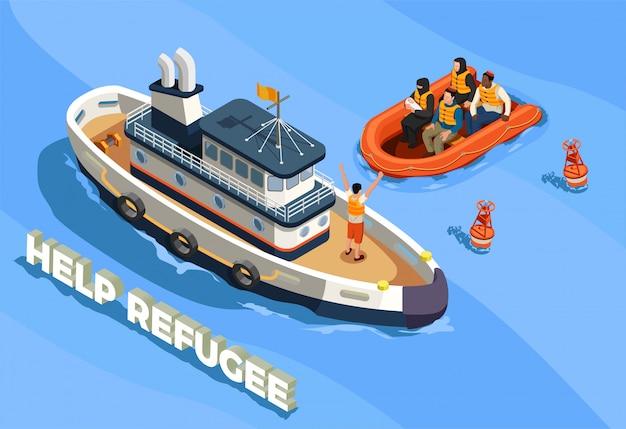 Ilustração de asilo de refugiados apátridas Vetor grátis