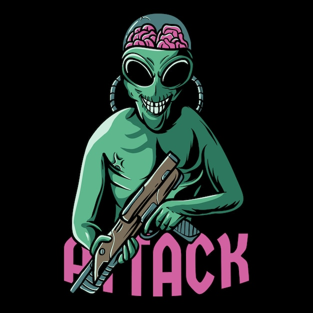 Ilustração de ataque alienígena Vetor Premium
