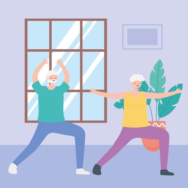 Ilustração de atividades de idosos, vovô e vovó praticando ioga na sala Vetor Premium