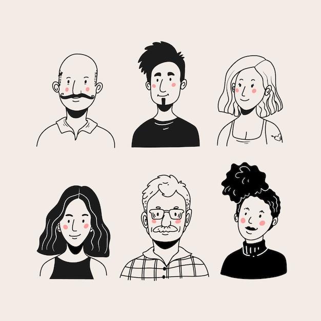 Ilustração de avatares de pessoas Vetor Premium
