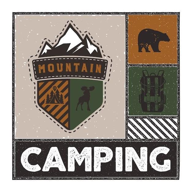 Ilustração de aventura vintage mão desenhada com logotipo de acampamento, veado, mochila, urso. Vetor Premium