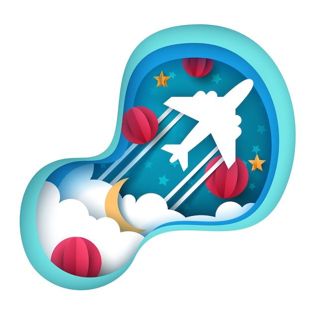 Ilustração de avião de papel Vetor Premium