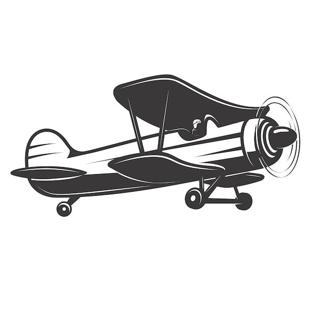 Ilustração de avião vintage. elemento para o logotipo, etiqueta, emblema, sinal, crachá. ilustração Vetor Premium