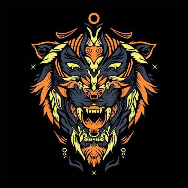 Ilustração de axa de tigre Vetor Premium