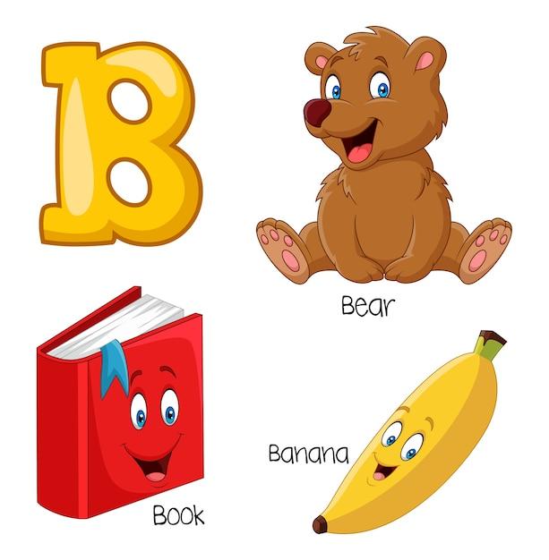 Ilustração, de, b, alfabeto Vetor Premium