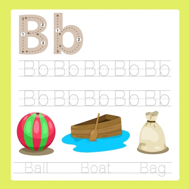 Ilustração de b exercício vocabulário de desenhos animados az Vetor Premium