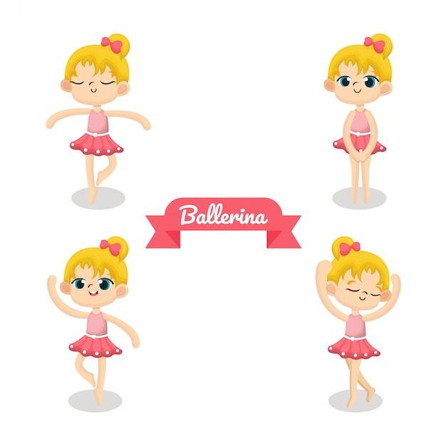 Ilustração de bailarina bonito com pano-de-rosa Vetor Premium