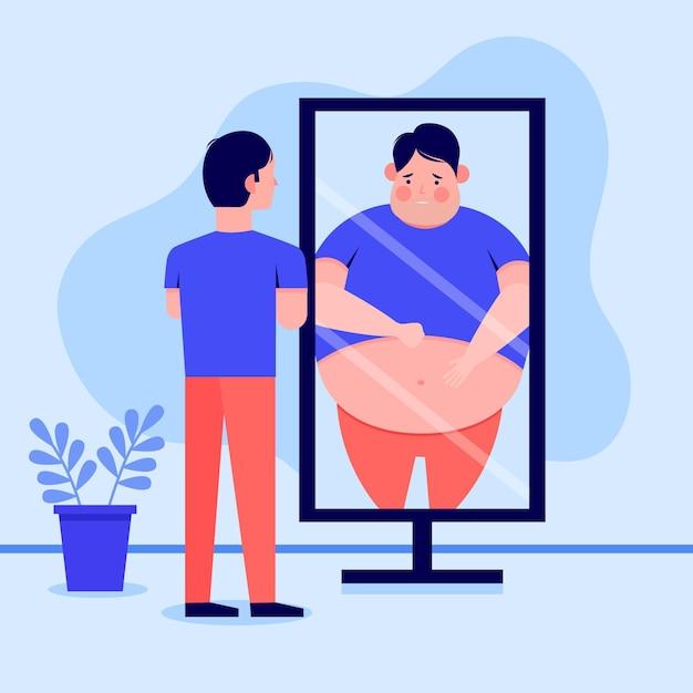 Ilustração de baixa autoestima com homem e espelho Vetor Premium