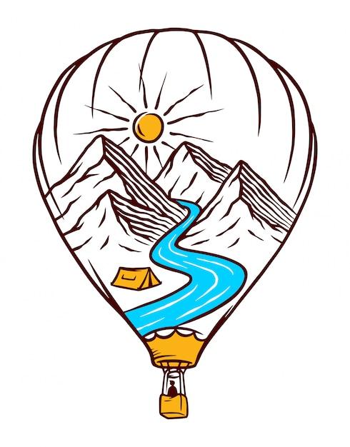 Ilustração de balão de ar quente da natureza Vetor Premium