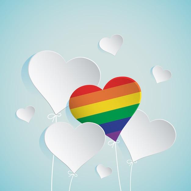 Ilustração de balão de coração para lgbt Vetor Premium