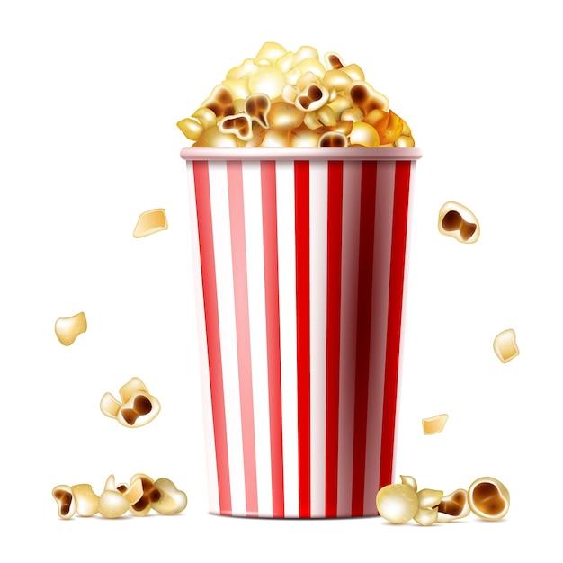 Ilustração de balde de pipoca de copo listrado realista 3d com lanche de pipoca doce ou salgado Vetor grátis