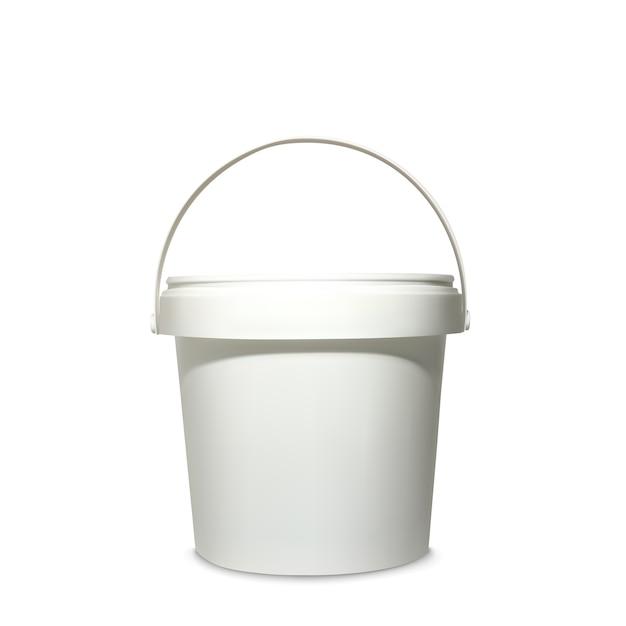 Ilustração de balde de plástico de 3d recipiente branco realista para maquete modelo de pacote de marca Vetor grátis