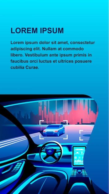 Ilustração de banner de carro de inteligência artificial. Vetor Premium