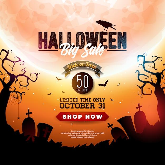 Ilustração de banner de venda de halloween com lua Vetor Premium