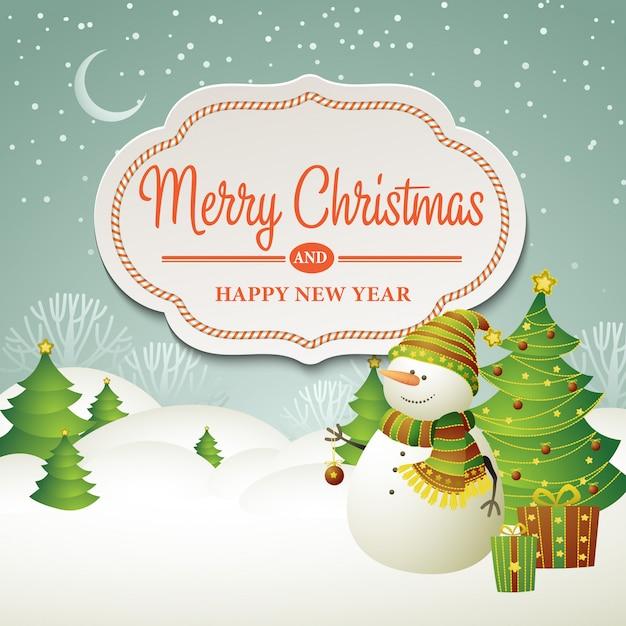 Ilustração de banner de venda de natal com boneco de neve Vetor Premium