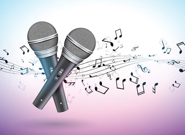 Ilustração de banner em um tema musical com microfones e notas caindo Vetor Premium