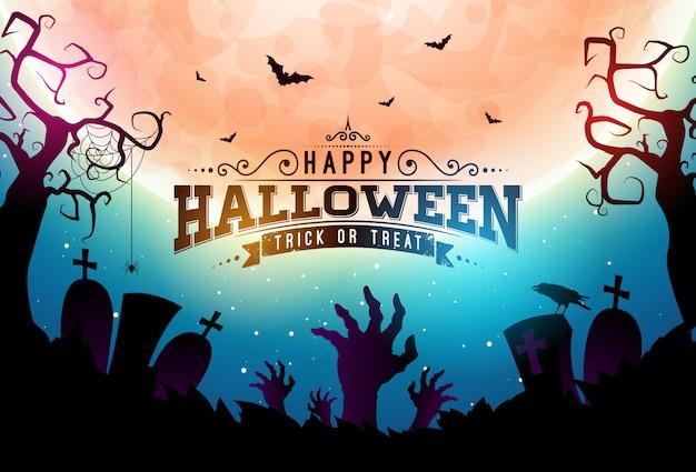 Ilustração de banner feliz dia das bruxas com lua Vetor Premium