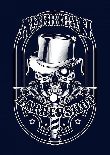 Ilustração de barberskull para t-shirt Vetor Premium