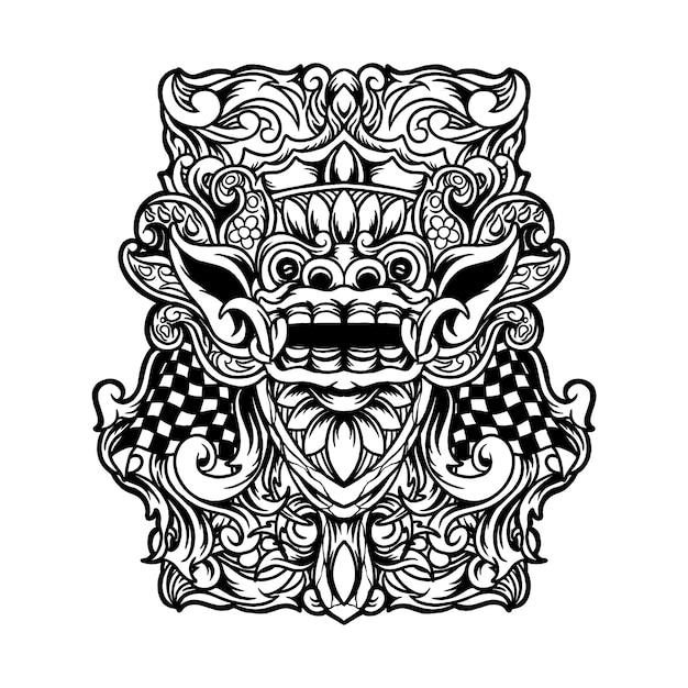 Ilustração de barong bali Vetor Premium