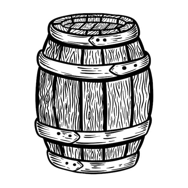 Ilustração de barril de madeira no fundo branco. elemento para o logotipo, etiqueta, emblema, sinal. ilustração Vetor Premium
