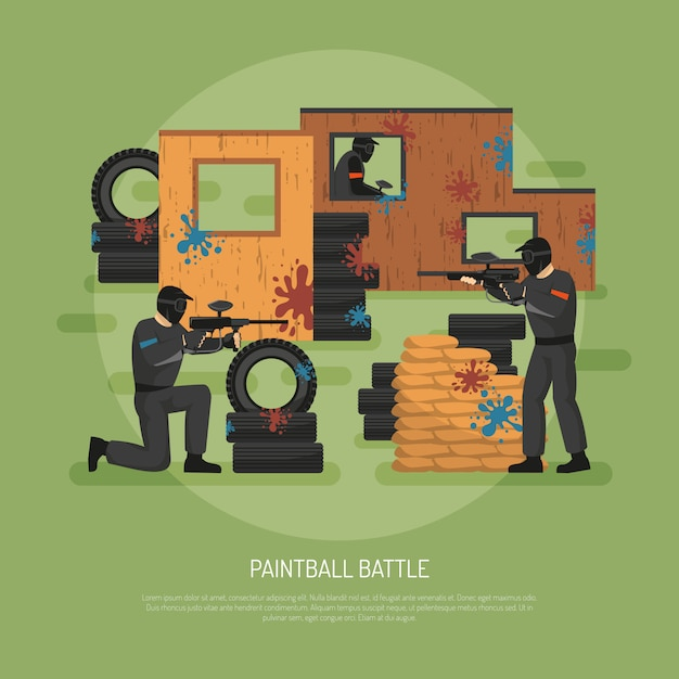 Ilustração de batalha de paintball Vetor grátis