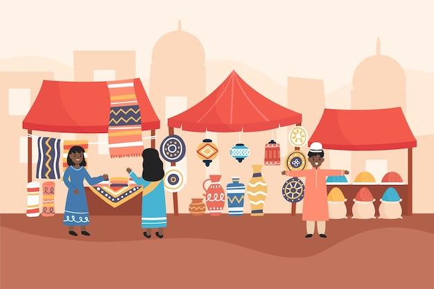 Ilustração de bazar árabe Vetor grátis