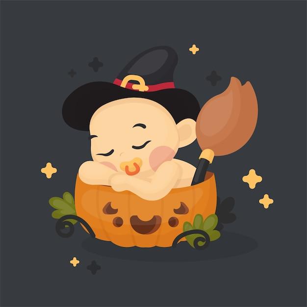 Ilustração de bebê fofo com fantasia de halloween na abóbora Vetor Premium