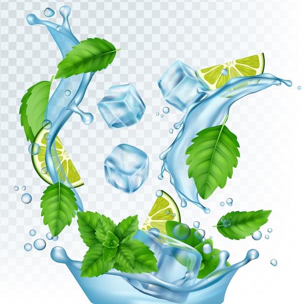 Ilustração de bebida fresca. água realista, cubos de gelo, folhas de hortelã e limão em fundo transparente Vetor Premium