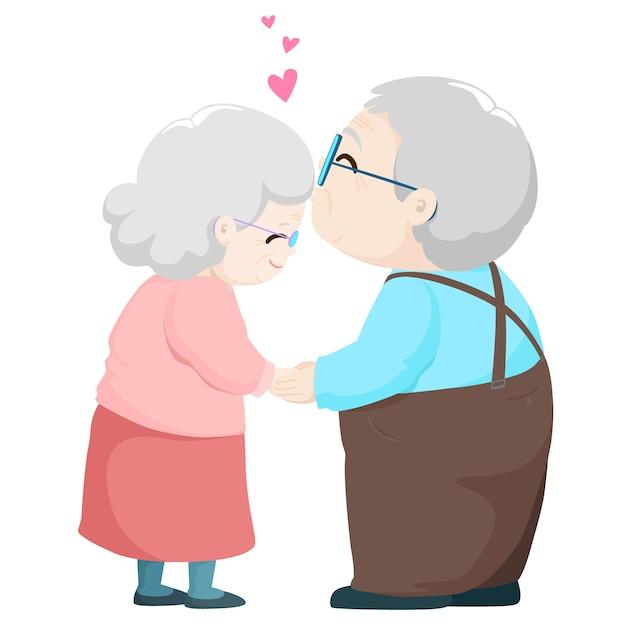 Ilustração de beijo do vetor dos desenhos animados dos pares idosos bonitos. Vetor Premium