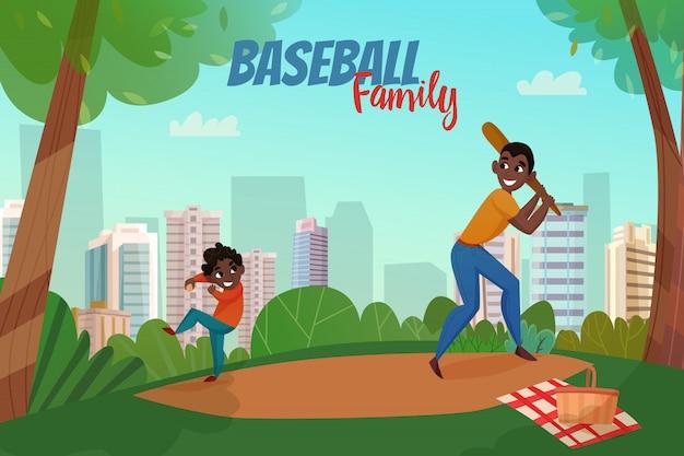 Ilustração de beisebol da paternidade Vetor grátis