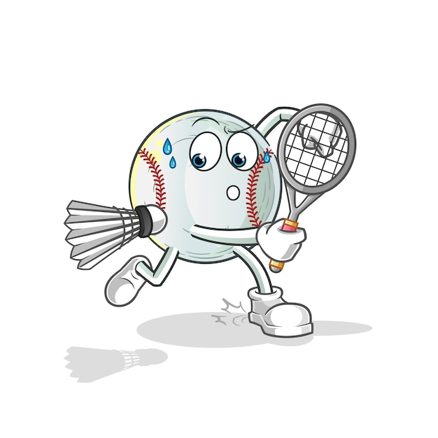 Ilustração de beisebol jogando badminton Vetor Premium