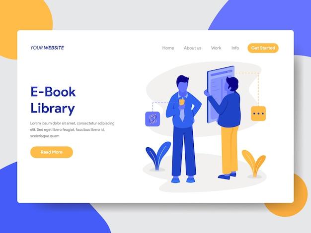 Ilustração de biblioteca de livro eletrônico para páginas da web Vetor Premium
