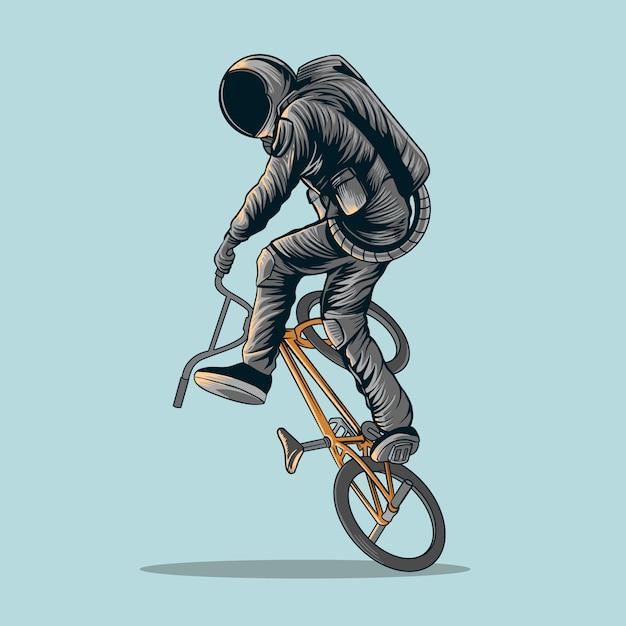 Ilustração de bicicleta de astronauta freestyle bmx Vetor Premium