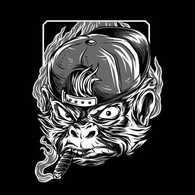 Ilustração de black & white macaco mastermind Vetor Premium