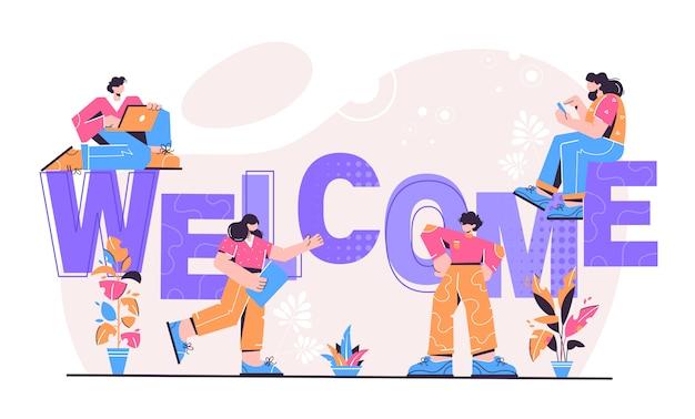 Ilustração de boas-vindas Vetor Premium
