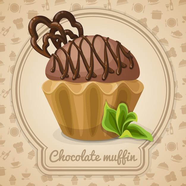 Ilustração de bolinho de chocolate Vetor Premium