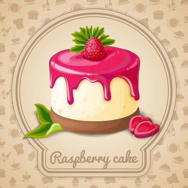 Ilustração de bolo de framboesa Vetor Premium
