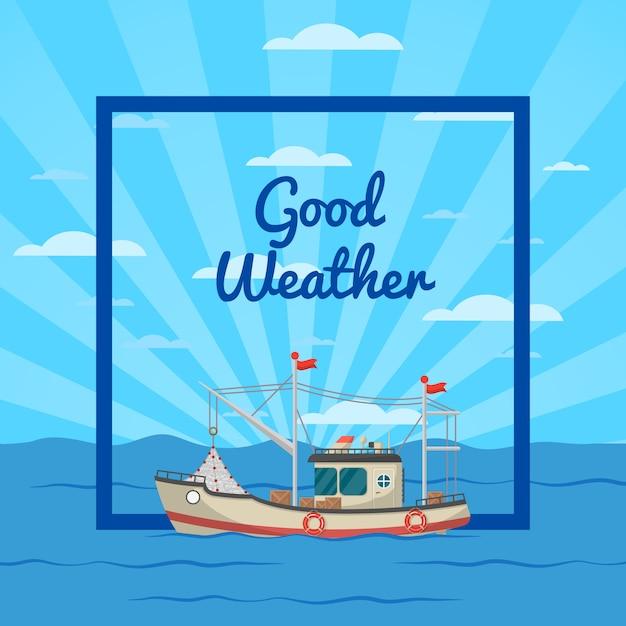 Ilustração de bom tempo com navio Vetor Premium