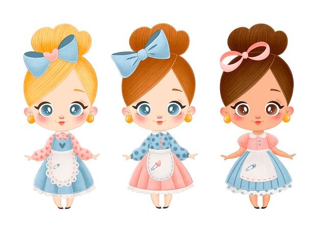 Ilustração de bonecos vintage bonitos dos desenhos animados. loiras, morenas, garotas afro-americanas definidas isoladas. Vetor Premium